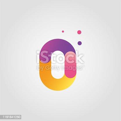 istock Vector number zero logo design template with gradient color 1191641250