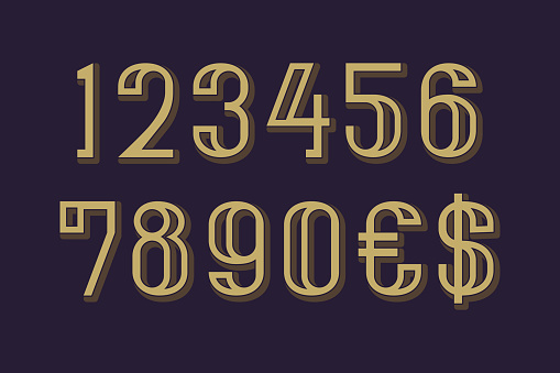 Vector numbers with dollar and euro symbols in art deco style.