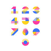 Vector numerals. Set of simple color geometry shapes' figures and numbers.
