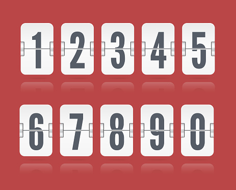 Vector numeric flip scoreboard with reflections floating for white countdown timer or web page watch or calendar