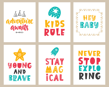 Vector nursery kids posters set with hand drawn lettering phrases