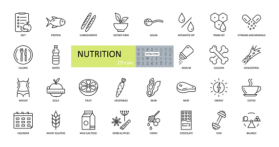 Vector nutrition icons. Editable Stroke. Nutrients in food, diet, weight loss, balance. Protein, carbohydrate, fiber, trans fat, vitamins, sugar, sodium, calcium, cholesterol, gluten, lactose