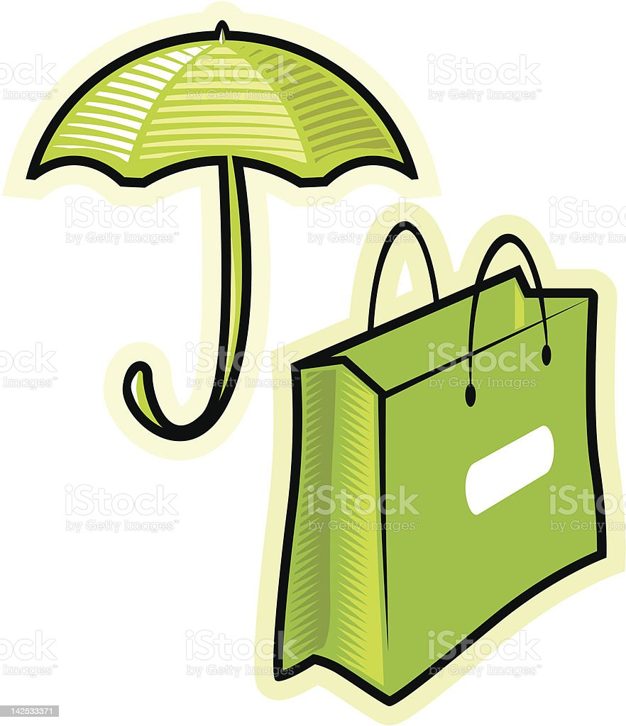 Vector objects umbrella and paperbag