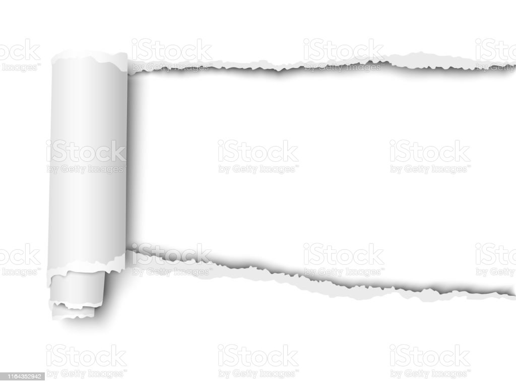 Vector oblong snatched hole in sheet of white paper from left to...