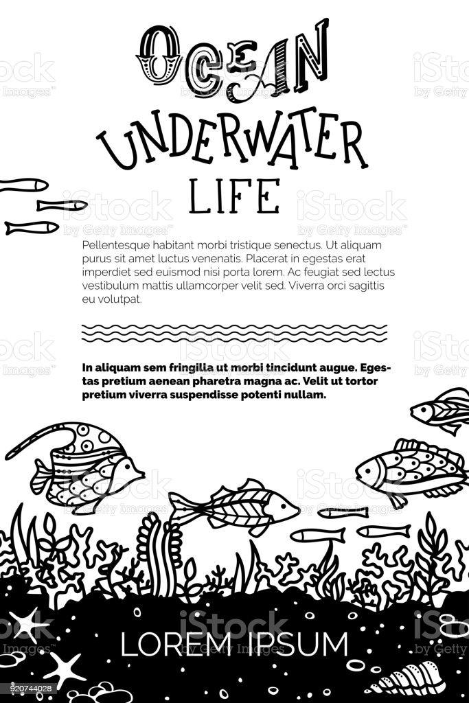 Vektör Okyanus Sualtı Canlıları Arka Plan Stok Vektör Sanatı
