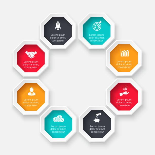 stockillustraties, clipart, cartoons en iconen met vector achthoek voor infographic. sjabloon voor cyclusdiagram-, grafiek-, presentatie- en grafiek. businessconcept met 8 opties, onderdelen, stappen of processen. abstracte achtergrond. - achthoek