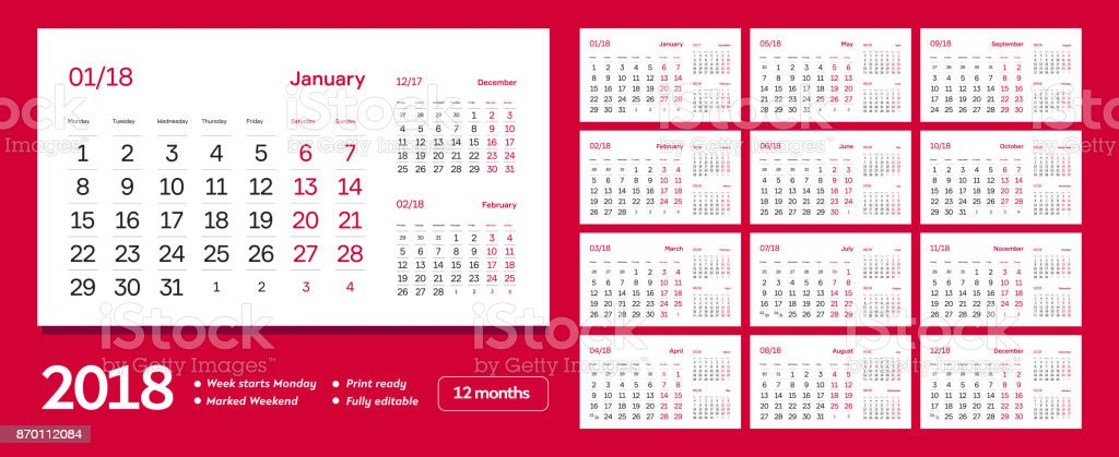 vector of 2018 new year calendar clean minimal table simple design template event and