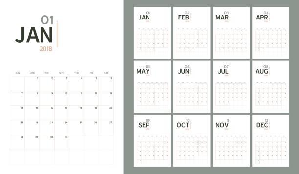 vektor der 2018 neujahr kalender moderner tisch schlichtes design stil und pastell bio klangfarbe, holiday-event-planer, woche beginnt sonntag, a5-größe - monatskalender stock-grafiken, -clipart, -cartoons und -symbole
