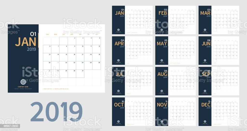 Vector of 2019 new year calendar in clean minimal table simple style and blue and orange yellow color,Holiday event planner,Week Starts Sunday.include holiday event.A5 size. vector art illustration