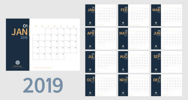 vector of 2019 new year calendar in clean minimal table simple style and blue and orange yellow color,holiday event planner,week starts sunday.include holiday event.a5 size. - calendars templates stock illustrations