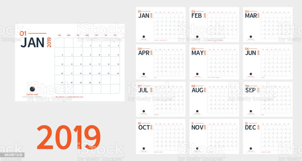 Vector of 2019 new year calendar in clean minimal table simple style and blue and orange color,Holiday event planner,Week Starts Sunday.include holiday event.A5 size векторная иллюстрация