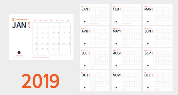 vector of 2019 new year calendar in clean minimal table simple style and blue and orange color,holiday event planner,week starts sunday.include holiday event.a5 size - calendars templates stock illustrations