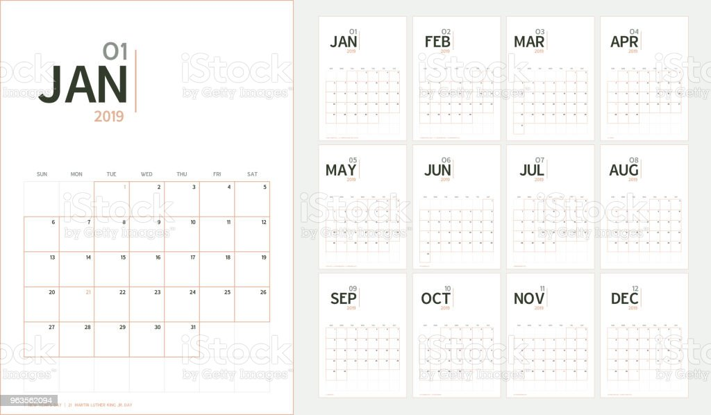Vector of 2019 new year calendar in minimal table simple style and organic tone color,Holiday event planner,Week Starts Sunday,A5 size. vector art illustration