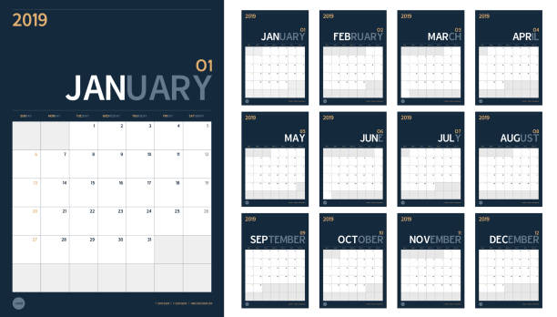 vector of 2019 new year calendar set in clean minimal table simple style and navy blue color,holiday event planner,week starts sunday,a4 vertical size.. - calendars templates stock illustrations