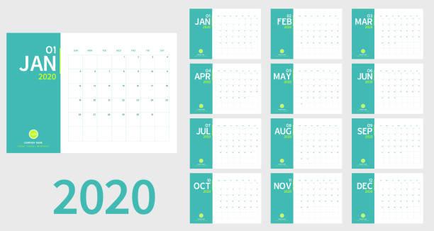 Vector des neuen Jahreskalenders 2020 in sauberem minimalem Tisch, einfachem Stil und hellgrüner Farbe, Ferienveranstaltungsplaner, Woche beginnt sonntags. A5 Größe. – Vektorgrafik