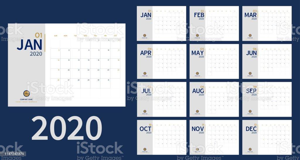 Vector van 2020 Nieuwjaar kalender in schone minimale tafel eenvoudige stijl en blauw goud kleur, vakantie evenement Planner, week begint zondag. inclusief vakantie evenement. A5-formaat - Royalty-free 2020 vectorkunst