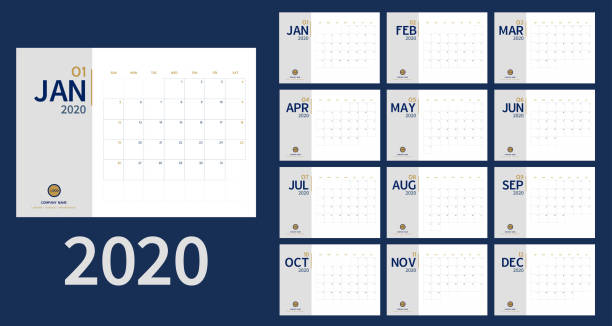 ilustrações de stock, clip art, desenhos animados e ícones de vector of 2020 new year calendar in clean minimal table simple style and blue gold color,holiday event planner,week starts sunday.include holiday event.a5 size - calendar