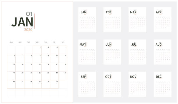 ilustrações de stock, clip art, desenhos animados e ícones de vector of 2020 new year calendar in minimal table simple style and organic tone color,holiday event planner,week starts sunday,a5 size.. - calendar