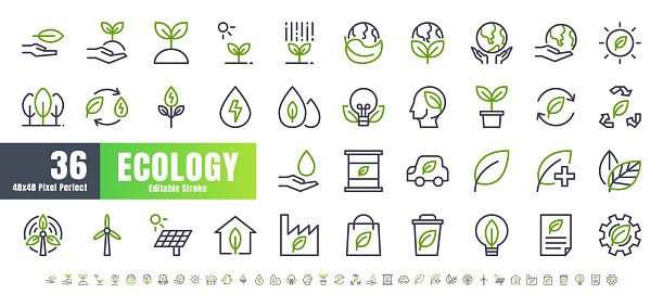 Vector of 36 Ecology and Green Energy Power Bicolor Line Outline Icon Set. 48x48 and 192x192 Pixel Perfect Editable Stroke.