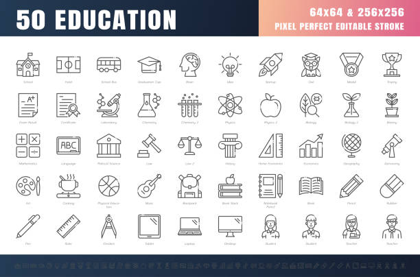 Vector of 50 Education and School Subject Line Outline Icon Set. 64x64 and 256x256 Pixel Perfect Editable Stroke. Vector. Vector of 50 Education and School Subject Line Outline Icon Set. 64x64 and 256x256 Pixel Perfect Editable Stroke. Vector. major military rank stock illustrations
