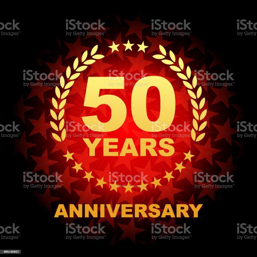 Fifty year anniversary icon with red color star shape background fifty year anniversary icon with red color star shape background - stockowe grafiki wektorowe i więcej obrazów baner royalty-free