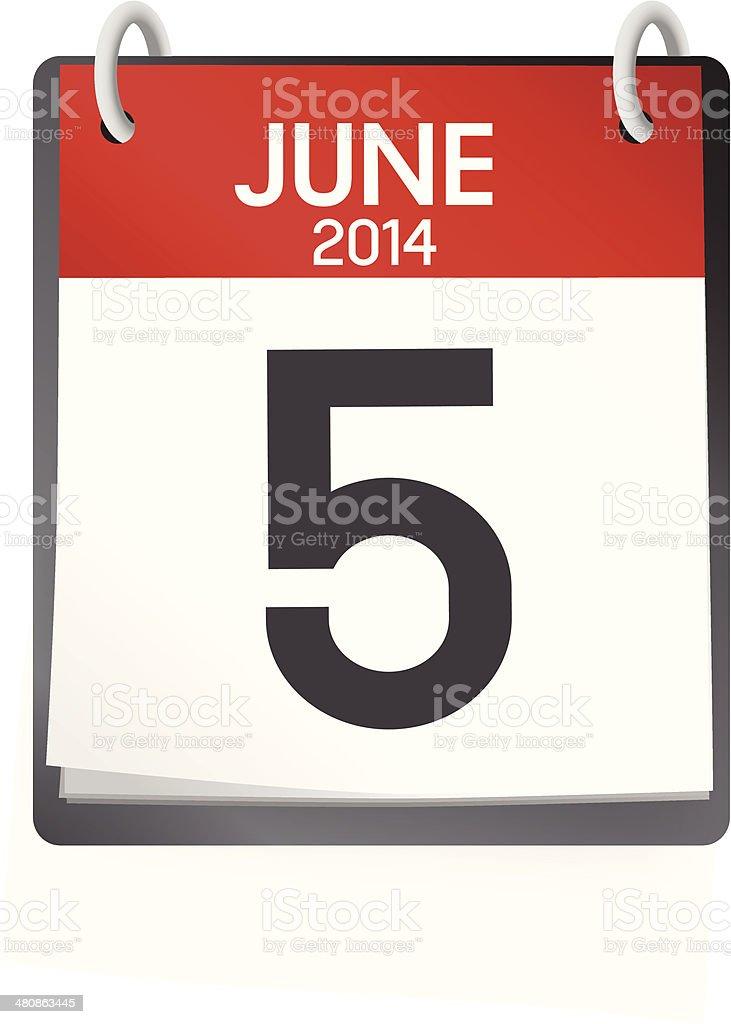 Vector of 5th of June 2014 Calendar vector art illustration