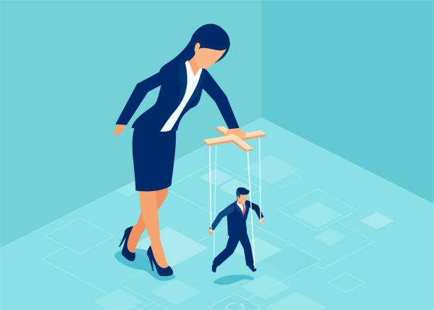 ilustrações de stock, clip art, desenhos animados e ícones de vector of a boss business woman manipulating a puppet businessman - seitas