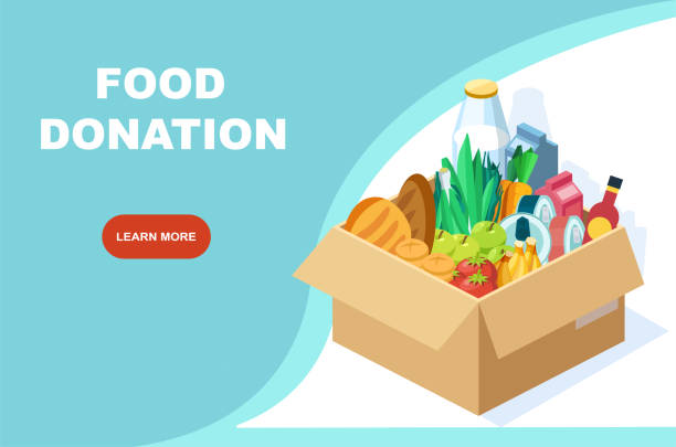 Vector of a box with groceries. Food donation drive program banner Vector of a box with groceries. Food donation drive program banner food drive stock illustrations