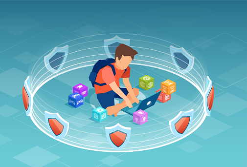 Vector of a boy, student using laptop computer surrounded by 3d shields, software protection