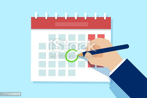 Vector of a business man hand with pen marking important day on calendar.