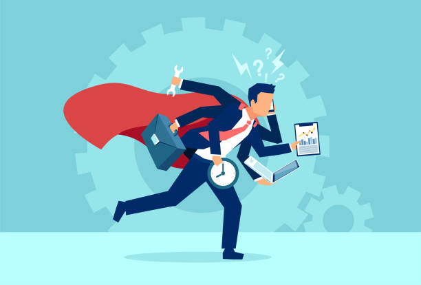 Vector of a business man super hero running in a hurry multitasking. Vector of a business man super hero running in a hurry multitasking. Concept of very busy corporate employee lifestyle overworked stock illustrations