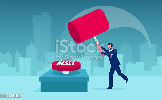 istock Vector of a business man with a hammer resetting economy after COVID-19 lockdown 1291261849