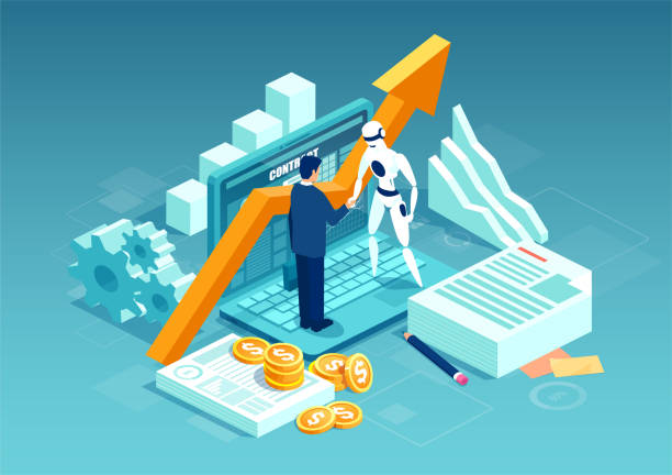 Vector of a businessman and a robot shaking hands standing on computer. Vector of a businessman and a robot shaking hands standing on computer. Concept of data analytics and key performance indicators in intelligent business. automated stock illustrations