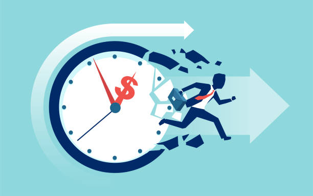 Vector of a businessman breaking a clock face running for a profit Time is money concept. Vector of a businessman breaking a clock face running for a profit time is money stock illustrations