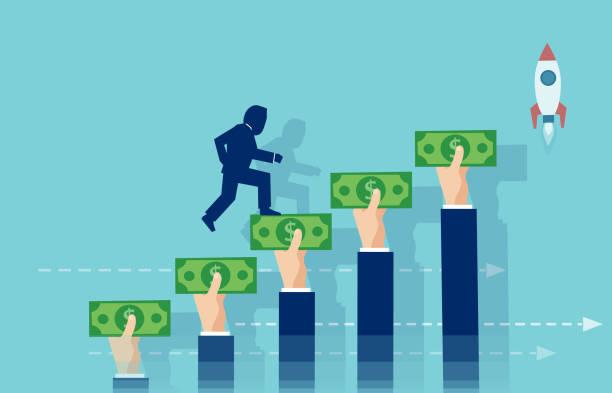 ilustrações, clipart, desenhos animados e ícones de vetor de um empresário, subindo as escadas de mãos segurando o dinheiro. - empréstimo