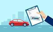 Vector of a businessman holding approved application for car loan