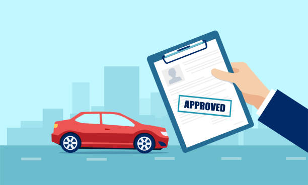 ilustrações, clipart, desenhos animados e ícones de vetor de um homem de negócios que prende a aplicação aprovada para o empréstimo de carro - empréstimo