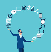 Vector of a businessman juggling business icons. Concept of multitasking in business