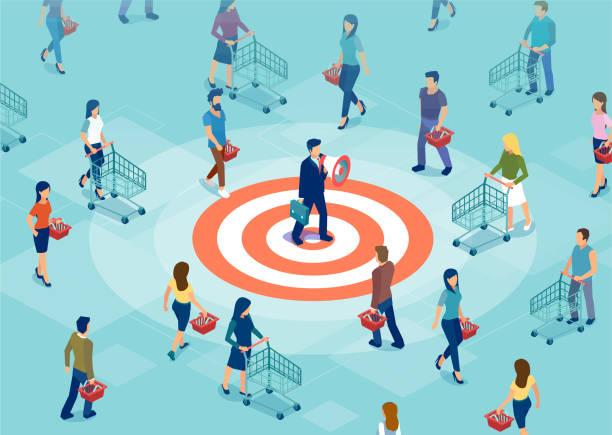 ilustrações de stock, clip art, desenhos animados e ícones de vector of a businessman making an announcement in megaphone to a targeted audience - inbound marketing
