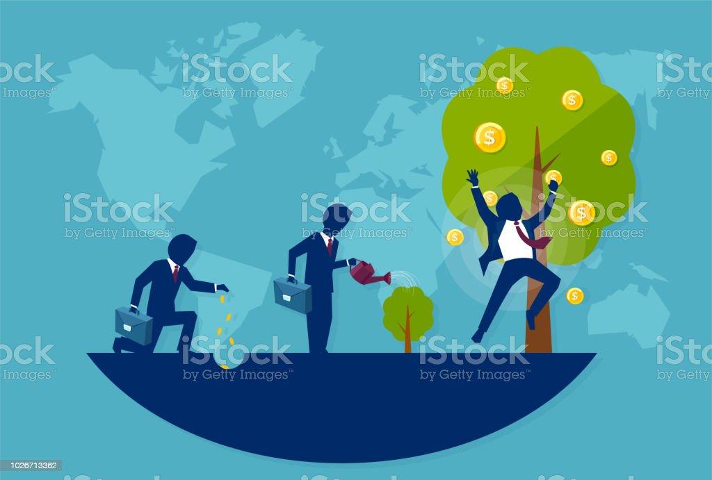 Vector of a businessman planting a money tree. Concept of financial wisdom vector art illustration