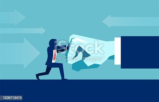 Vector of a businessman resisting pressure from big boss. Man fighting with big hand fist