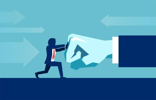 stockillustraties, clipart, cartoons en iconen met vector van een zakenman die zich verzetten tegen de druk van de grote baas. - conflict
