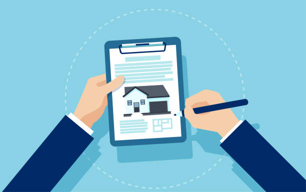 Vector of a businessman signing mortgage documents Real estate concept. Vector of a businessman signing mortgage documents lease agreement stock illustrations