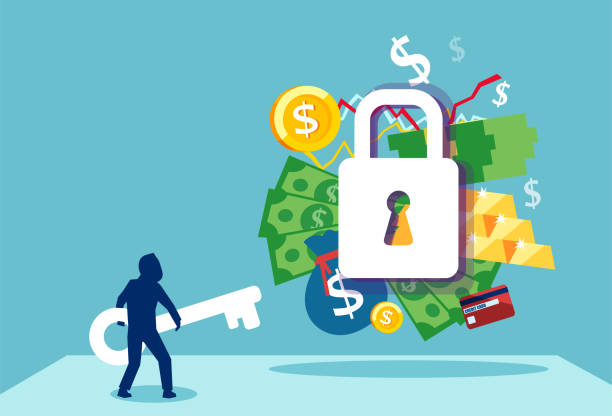 Vector of a businessman with a key to financial success and employement compensation Business security safety protection concept. Vector of a businessman with a key to financial success and employement compensation unlocking stock illustrations