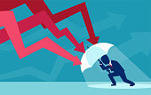 Vector of a businessman with umbrella resisting protecting himself from falling red arrows as a symbol of unfavorable business environment