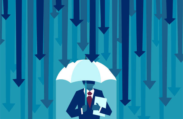 vector of a businessman with umbrella resisting protecting himself from falling arrows - insurance stock illustrations