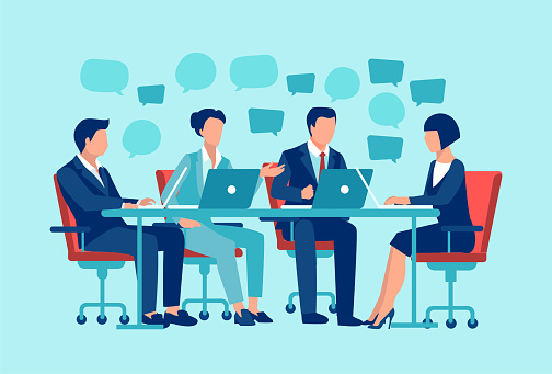 Vector of a businesspeople sitting at table brainstorming