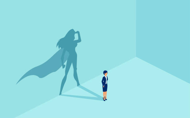 Vector of a businesswoman with superhero shadow. Vector of a businesswoman with superhero shadow. Symbol of ambition motivation leadership and challenge. battle of the sexes concept stock illustrations