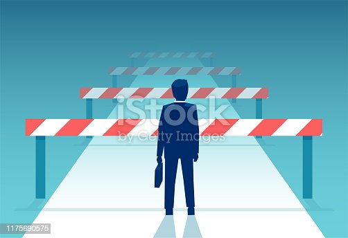 Vector of a challenged businessman standing in front of many obstacles and barriers on the way to success.
