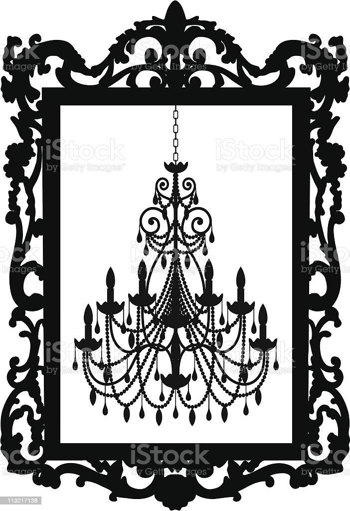 Vector of a chandelier inside a picture frame vector art illustration